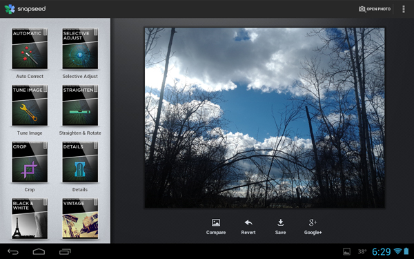 snapseed android tablet Best Android Apps for Tablet 2013